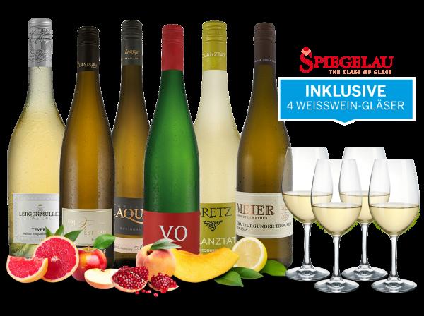 Festliche Weißweine aus Deutschland inkl. 4 Spiegelau Gläser