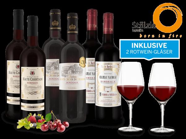 Vorteilspaket Bordeaux-Weine inkl. 2 Gläser NUDE