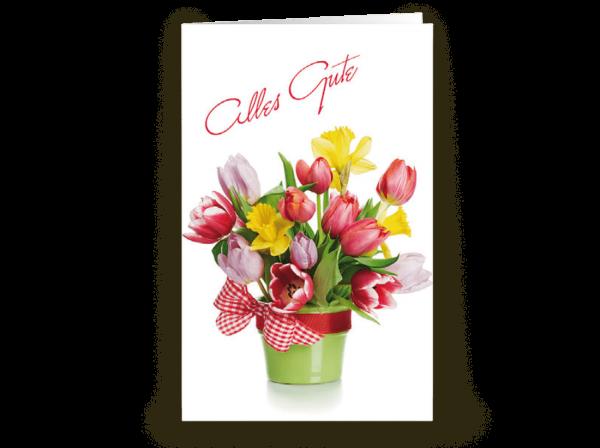 Grußkarte Alles Gute mit Blumenstrauß