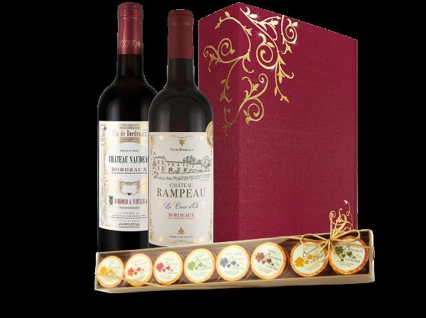 Präsent Bordeauxweine & Schokolade im Liebesglück