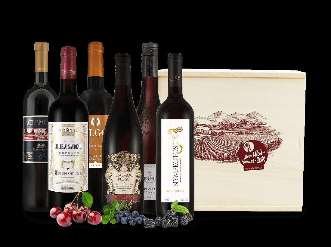 Rotwein Wein-Genussreise mit 6 Flaschen in Holzkiste11,76? pro l