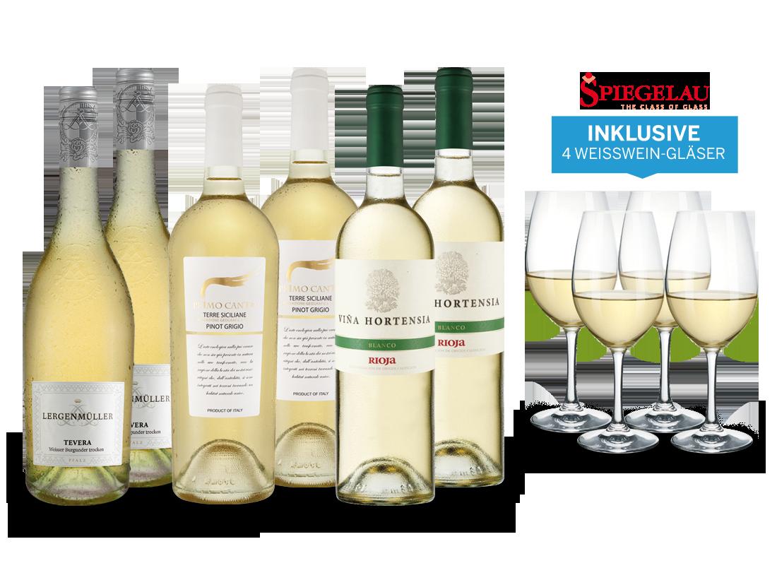 Vorteilspaket Sonnige Zeiten für Weißweine inklusive 4 Spiegelau-Weißweingläser9,98? pro l