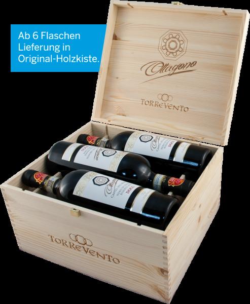 Torrevento Nero di Troia Riserva Ottagono DOCG mit 6 Flaschen in der Original-Holzkiste