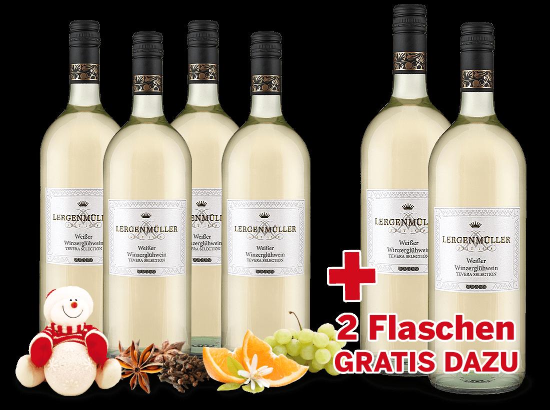 Vorteilspaket 6 Flaschen Minerva Weißer Winzerglühwein davon 2 Flaschen gratis5,00? pro l