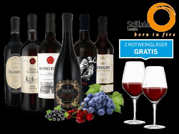 Italien-Genusspaket mit 6 Flaschen und 4 Gläser gratis