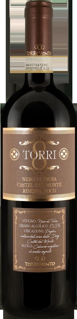 Rotwein Torrevento Nero di Troia 8 TORRI Castel del Monte Riserva DOCG Apulien 14,65? pro l