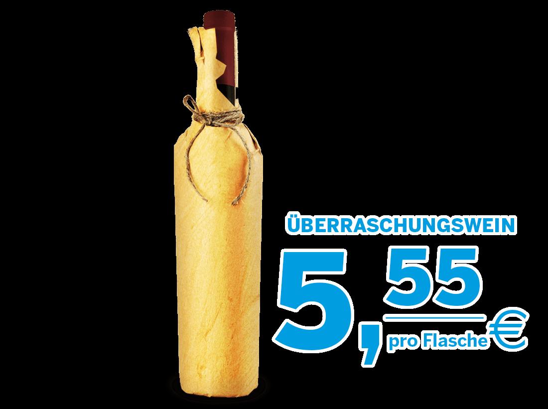 Weißwein, Roséwein, Rotwein Restposten-Überraschungswein6,65? pro l