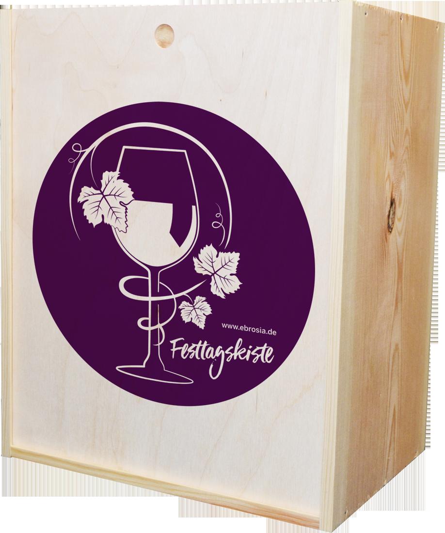 Holzkiste Festtage für 6 Flaschen mit Schiebedeckel