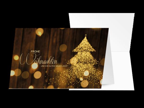 Grußkarte Glitzerbaum 'Frohe Weihnachten'