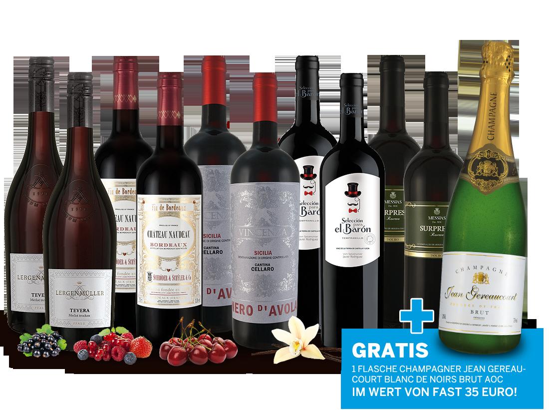Luxus-Genusspaket mit 10 Flaschen Rotwein und 1 Flasche Champagner gratis9,33? pro l
