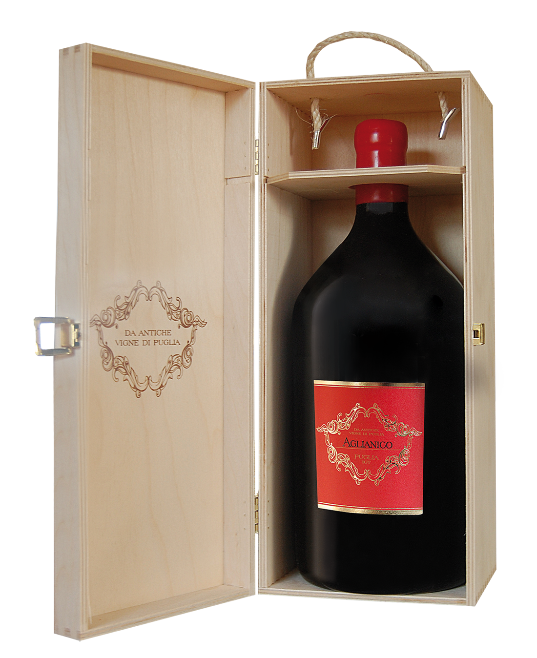 Rotwein Torrevento Aglianico 3l Doppelmagnum in Holzkiste Apulien 13,30? pro l