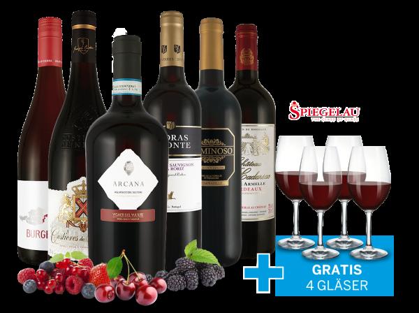 Sommerwein-Kollektion Rotwein inkl. 4 Rotweingläser