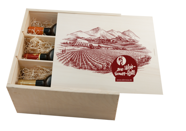 Holzkiste 'Genussrreise' für 6 Flaschen hoch mit Schiebedeckel
