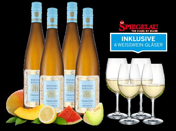 Vorteilspaket Robert Weil Riesling Tradition inkl. 4 Weißweingläser
