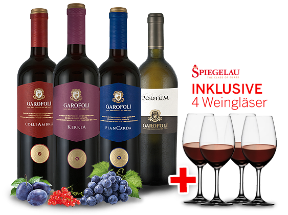 Kennenlernpaket Casa Vinicola Gioacchino Garofoli aus den Marken inkl. 4 Gläser14,30€ pro l