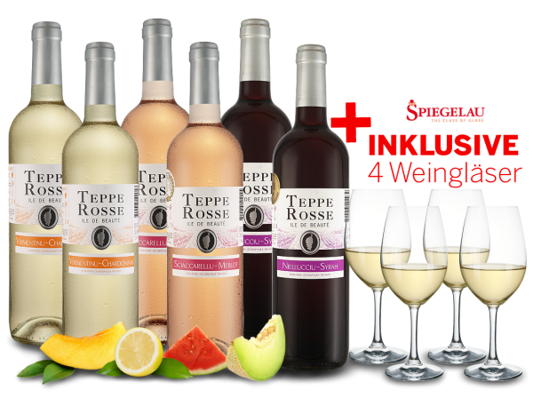 Kennenlernpaket Les Vignerons d'Aghione Teppe Rosse mit je 2 Flaschen inkl. 4 Gläser