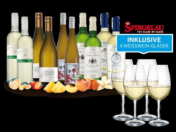 Weißwein-Vorteilspaket 'So schmeckt der Frühling' mit 10 Flaschen und 4 Gläsern