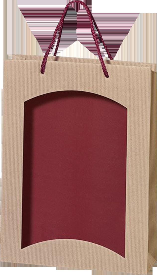 Papiertüte Offene Welle natur & bordeaux mit Folienfenster für 3 Flaschen