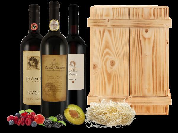 Kennenlernpaket Cantine Leonardo Da Vinci aus der Toskana in einer Holzkiste