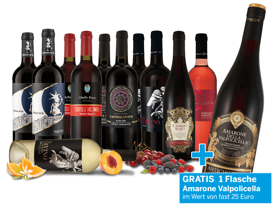 Vorteilspaket - Edle italienische Weine + gratis Amarone8,48? pro l
