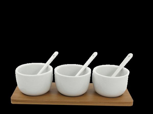 Saucen-Servierset Bambus 7-teilig mit 3 Schalen