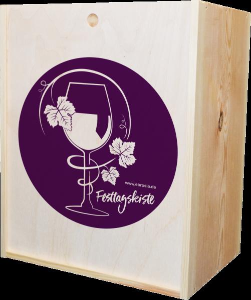 Holzkiste 'Festtage' für 6 Flaschen mit Schiebedeckel