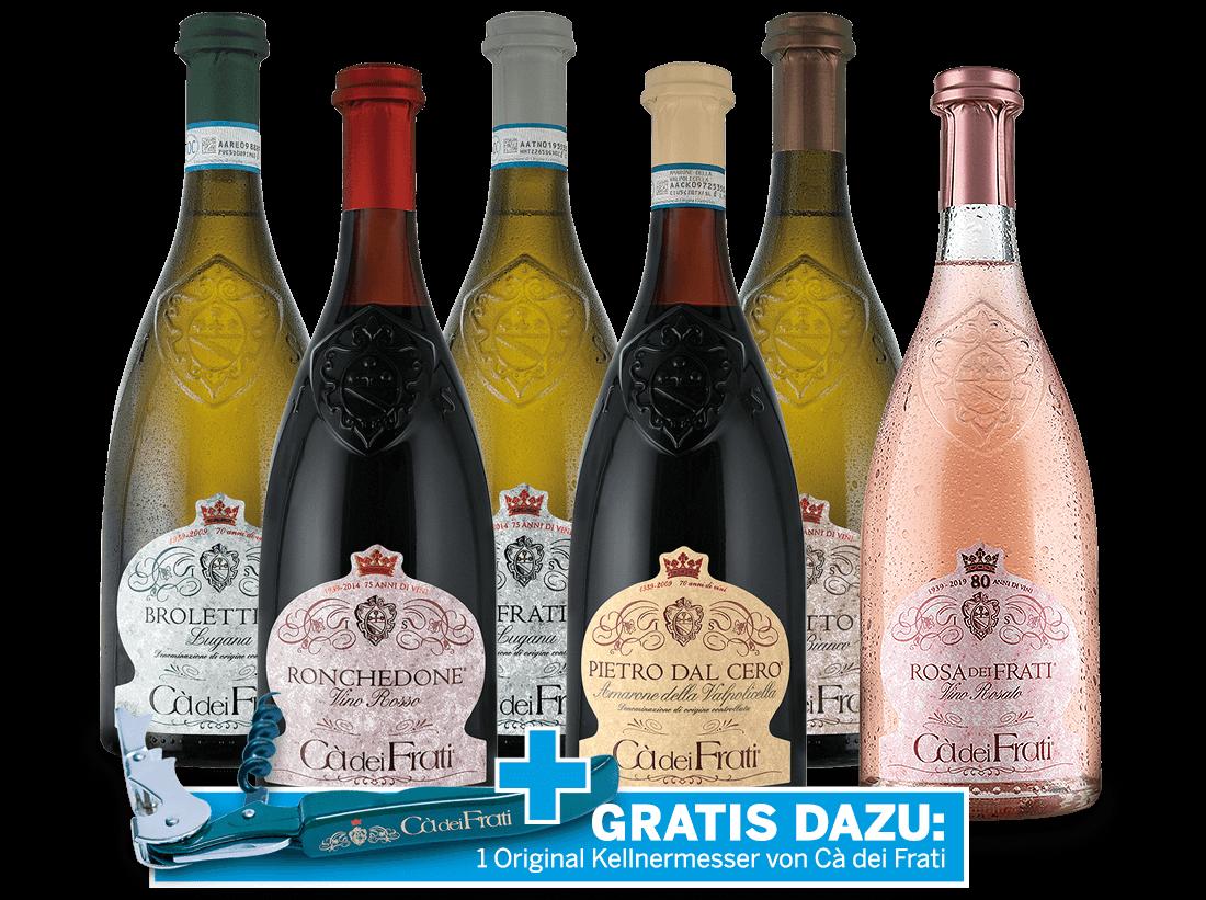 Kennenlernpaket Premium Cà dei Frati aus der Lombardei und Original-Kellnermesser gratis26,66? pro l