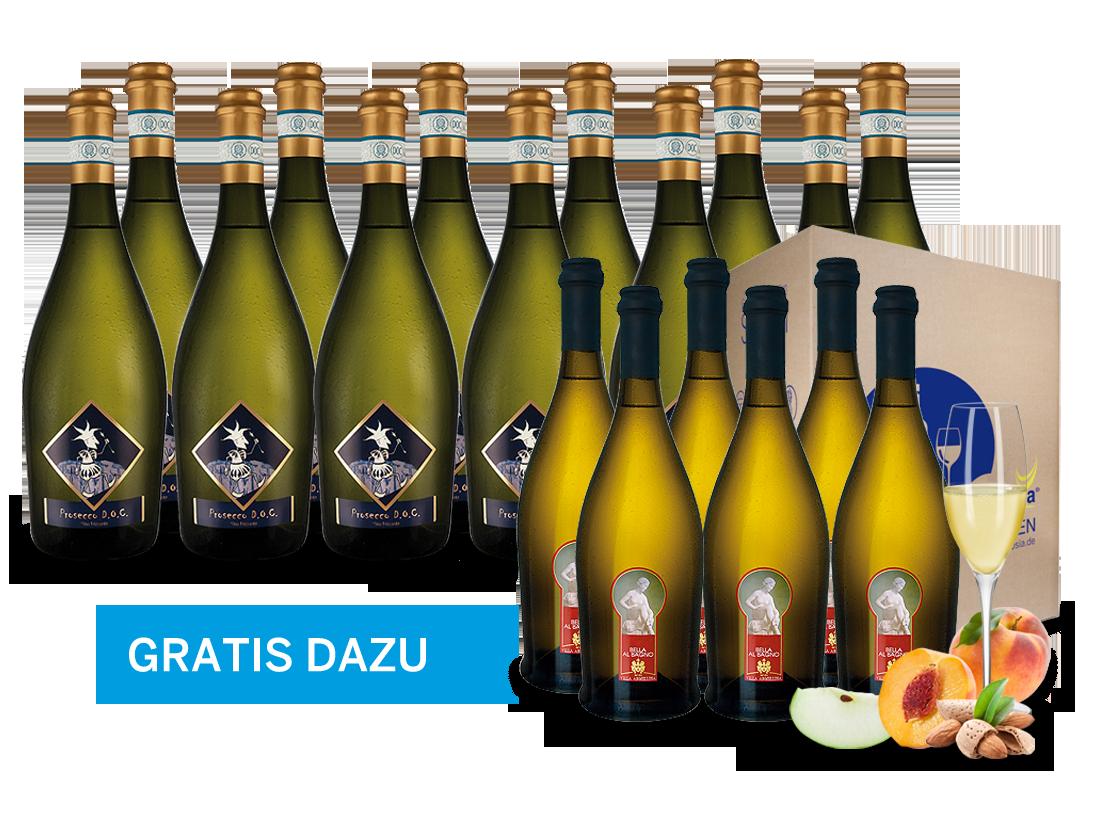 12 Flaschen Prosecco Selezione del Re inkl. 6 Flaschen Bella al Bagno gratis9,44€ pro l